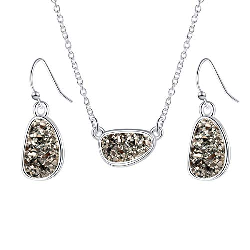 - MissNity Chic Simulated Druzy Jewelry Set for Girls Womens Silver Tone Plated Pendant Necklaces and Drop Earrings (C01-gray)