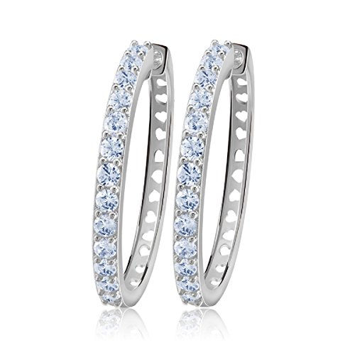 (uPrimor Platinum Plated Big Hoop Earring 33mm Paved with Luxury AAA Cubic Zirconia for Ladies)