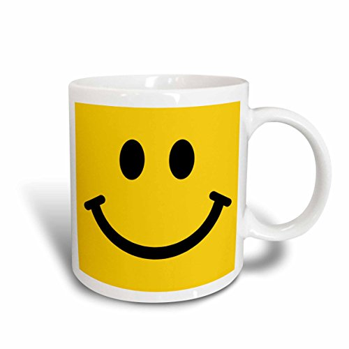 3dRose 113090_1 Yellow Smiley face-Happy Smiling cartoon-60s Jolly Cheerful Bright Ceramic mug, 11 oz, White