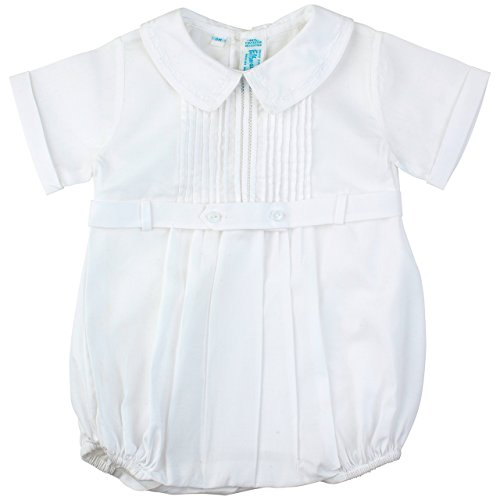 Feltman Brothers Christening - Feltman Brothers Baby Boys White Christening Baptism Bubble Outfit with Collar 3M