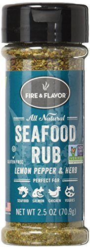 (FIRE & FLAVOR Seafood Rub Seasoning, Lemon Pepper, 2.5 Ounce)