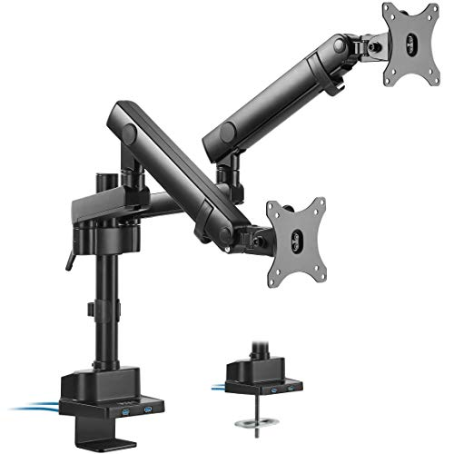 - VIVO Premium Aluminum Full Motion Dual Monitor Desk Mount Stand with Lift Engine Arm, Pole Extension, and USB Ports | Fits Screens up to 32 inches (STAND-V102BDU)