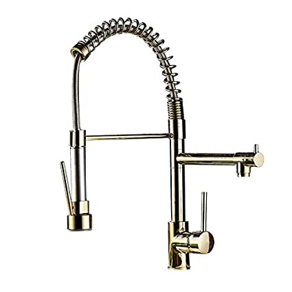 jinyuze luxury single hole pull out spring sprayer dual spout kitchen faucet solid brassgold - Types Of Kitchen Faucets