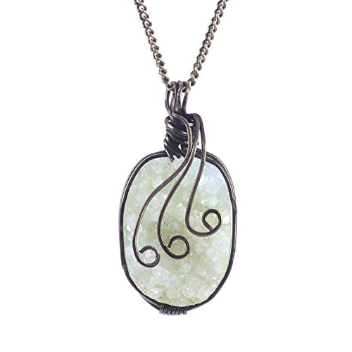 tone Necklace Natural Agate Irregular Geode Slice Pendant Turquoise Crystal Necklace Jewelry (BRONZE) (Agate Turquoise Pendant)