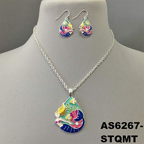 Multi Color Sea Mermaid Inspired Pendant Silver Finish Necklace Set & - Inspired Silver Pendant