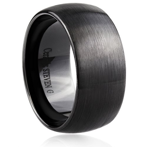 STEVEN G Black Ceramic Band Style Wedding / Fashion Ring 11mm Wide Dome Shape Satin Finish Durable Unisex