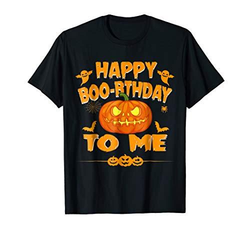 Halloween Birthday Shirt Happy Boo-rthday To me Pumpkin Tee ()