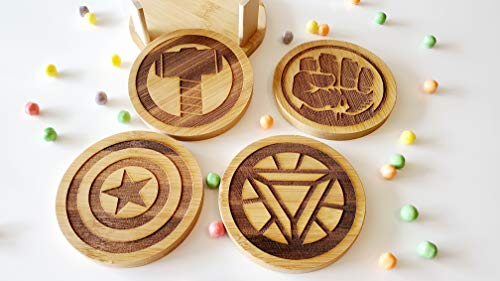 Marvel Avengers Logos Inspired, Custom Engraved Bamboo Coaster Set With Holder, Hulk, Iron Man, Thor, captain america ()
