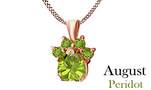 Heart Cut Peridot Pendant - Jewel Zone US Heart & Round Cut Green Simulated Peridot Dog Paw Pendant In 14K Rose Gold Over Sterling Silver
