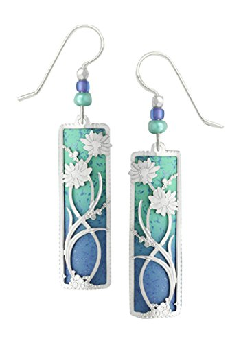 (Adajio by Sienna Sky Periwinkle Aqua Column Filigree Earrings with Daisy Overlay 7544)