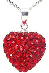 Red Crystal Heart Shape Sterling Silver Pendant