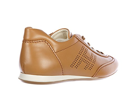 Hogan Chaussures Baskets Sneakers Femme en Cuir Olympia h bucata Marron