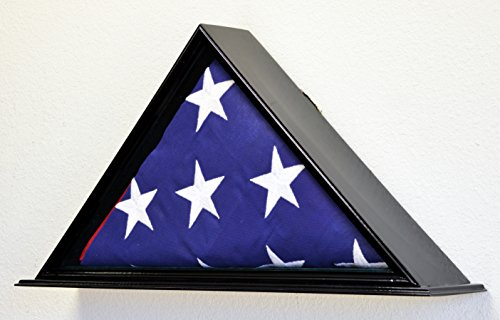 Flag Display Case for 5 x 9.5 Burial/Funeral/Casket/Veterans Military Flag Box Solid Wood USA (Black Finish) ()