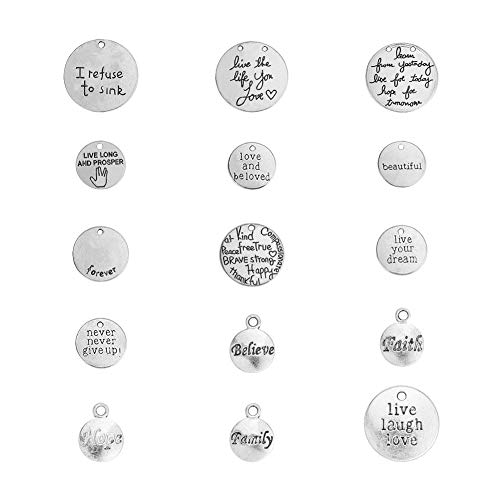 PandaHall Elite 60 Pcs Tibetan Style Alloy Flat Round Inspirational Message Charm Pendants with Words 15 Styles for Jewelry Making Antique Silver