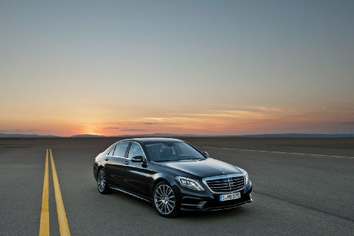 Mercedes-Benz S Class (2014) Car Art Poster Print on 10 mil Archival Satin Paper Black Front Side Parked Sunset View 36