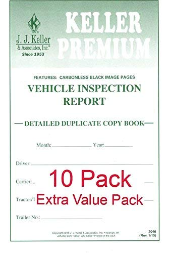 Detailed Driver's Vehicle Inspection Report (DVIR) 10-Pk - Book Format, 2-Ply, Carbonless, with Blue Ink, Stock, 5.5'' x 8.5'', English - J. J. Keller & Associates by J. J. Keller & Associates, Inc.