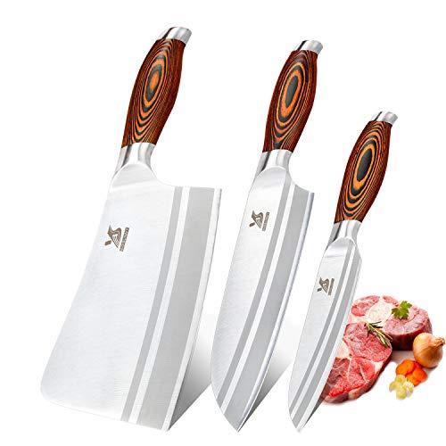 "MSY BIGSUNNY Kitchen Knife Set, Professional Stainless Steel Sharp Knife 7"" Chopping Knife 7"" Santoku Knife 5"" Utility Knife, Set of 3"
