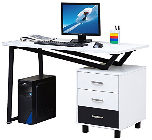 Merax home office desk with cabinet and drawers wood for Best home office tools
