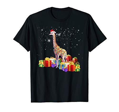 Santa GIRAFFE Christmas Lights Shirt GIRAFFE Xmas Gift