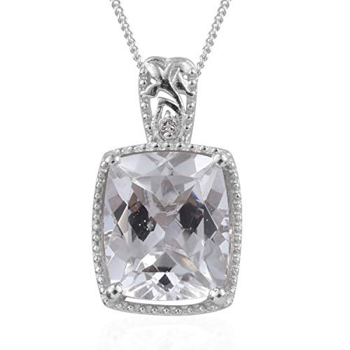 925 Sterling Silver Platinum Plated Cushion White Topaz Chain Pendant Necklace for Women 20