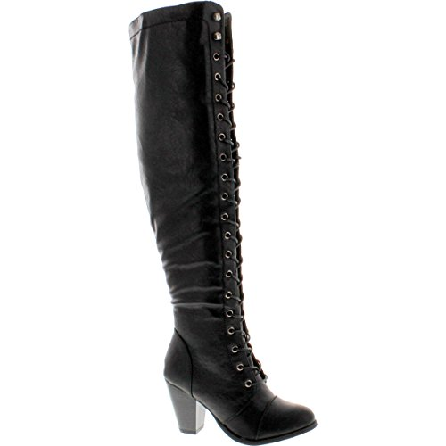 Forever Camila-48 Womens Chunky Heel Lace Up Over The Knee High Riding Boots,Black,8.5