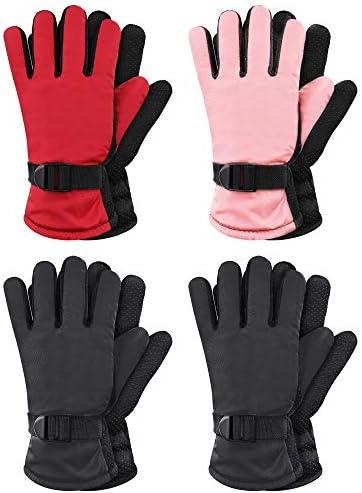 4 Pairs Kids Winter Snow Waterproof Warm Ski Gloves Unisex Camouflage Gloves for Cold Weather Children