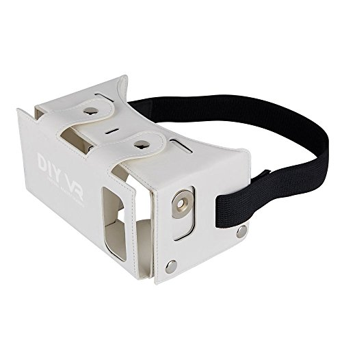 DAISEN 2016 Best New Waterproof PU leather DIY 3D VR Box Google Virtual Reality Headset Glasses Cardboard Movie Game for Smartphones with Headband (White)
