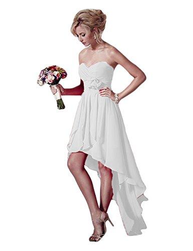 Xingmeng Haute Robes De Demoiselle D'honneur En Mousseline De Soie Bas Robes De Bal Sans Bretelles 2018 Blanc