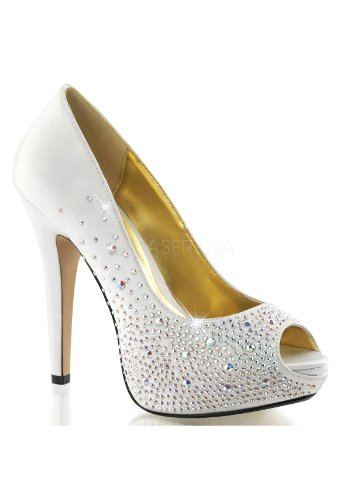 Fabulicious Women's Lolita06 White Fashion Pumps 7 (06 Platform)