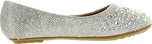 Link Girls Larisa-39K Rhinestone Ballet Ballerina Flats Shoes