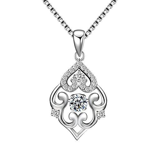 Cosysunny Ladies 925 Sterling Silver Dancing Cubic Zirconia Geometry Classic Pendant Necklace for Women