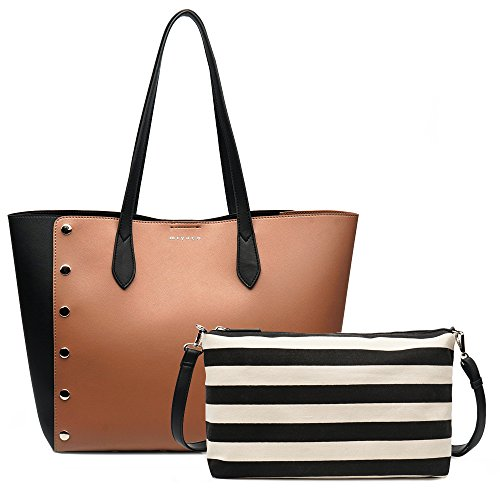Miyaco Handbags for Women Leather tote bag Summer Purses with Canvas Pouch (brown) by Miyaco