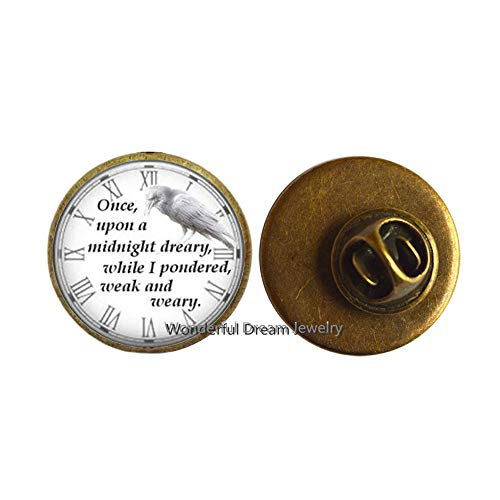 Once Dreary While i Pondered Weak and Weary Quote Brooch Jewelry Gifts,Christmas Gift Halloween Gift Bridesmaid Jewelry,PU386 (Brass) -