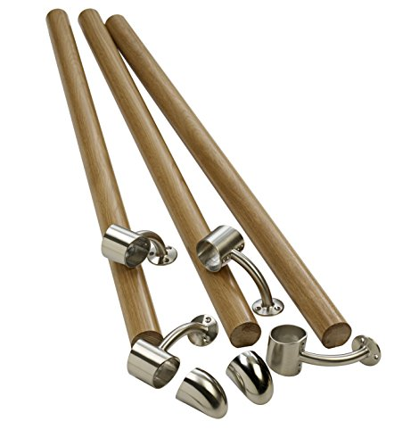 Richard Burbidge KIT02 Fusion Boxed Handrail Kit - White Oak /Brushed Nickel by Richard Burbidge