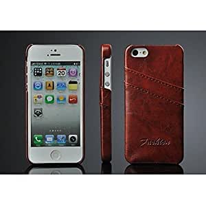 WEV Oil Wax PU Leather back cover case for iphone 5 5s with 2 card slots,lether case for iphone 5s , Gray