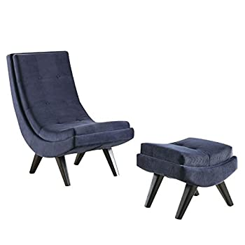 Furniture of America Vernita Accent Chair With Ottoman in Navy