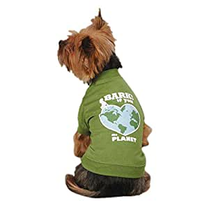 Casual Canine ZM2992 20 43 Bark If You Love The Planet Tee for Dogs, Large, Green