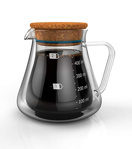 Double Wall Glass Server - Insulated To Keep Your Pour Over Coffee and Tea Hot and Fresh. FIts All Major Drippers. Holds - Wall Wave Double
