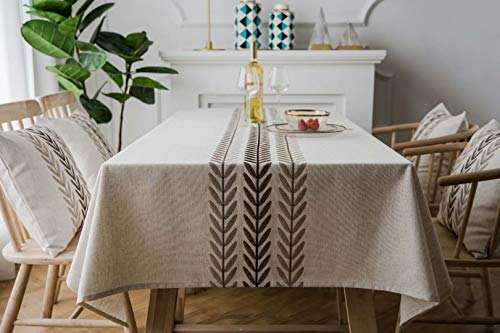 YQ Park Solid Brown Wheat Embroidery Tablecloth Cotton Linen Dust-Proof Table Cover for Kitchen Dinning Tabletop Decoration (Rectangle/Oblong, 53x71 inch, Grey) ()