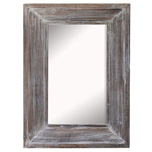 Barnyard Designs Decorative Wall Mirror Rustic Distressed Natural Wood Frame Vertical Hanging - Weathered Mirrors Wood Bathroom