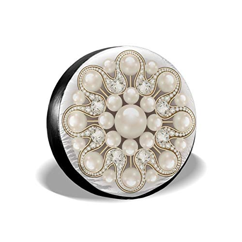 - Mandala Brooch Jewelry Design Element Pearl Beauty Polyester Universal Spare Wheel Tire Cover Wheel Covers Jeep Trailer Rv SUV Truck Camper Travel Trailer Accessories 14 Inch