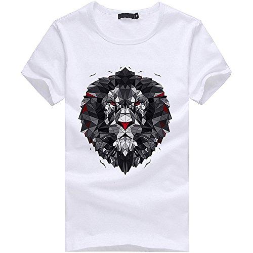 Lion Ciellte Blouse Casual Mince Homme L Fit Personnalité Shirts Manche Courte Tops Sleeve D'été Short blanc Imprimé T Tee shirt Rtpqt7Pr