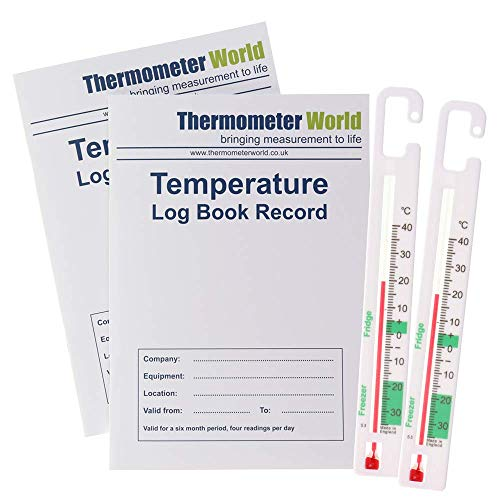Pack of 2 X Temperature Log Books 6 Months Records and 2 X Fridge Freezer Thermometers to Monitor Fridge Freezer…