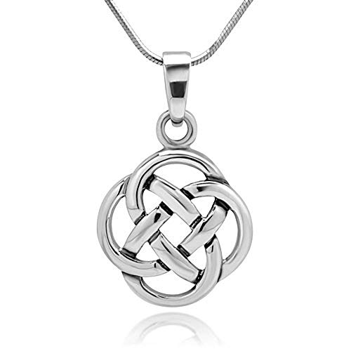 925 Sterling Silver Celtic Knot Five Fold Pattern Round Womens Girls Pendant Necklace, 18 Inches Xmas Gift from Crafts Avenue