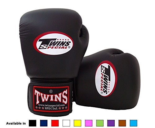 Shiv Naresh Teens Boxing Gloves 12oz: Twins Special Muay Thai Boxing Gloves (Solid Black, 16 Oz