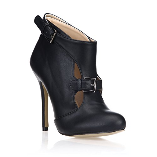Ankle Booties Stiletto Heeled Women Fashion Strap Buckle Black Chukka Shoes DolphinGirl Prime