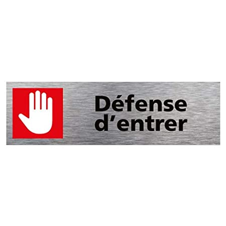 Dimensions 170 x 50 mm Aspect Aluminium Bross/é Sticker de Porte Frappez Avant DEntrer