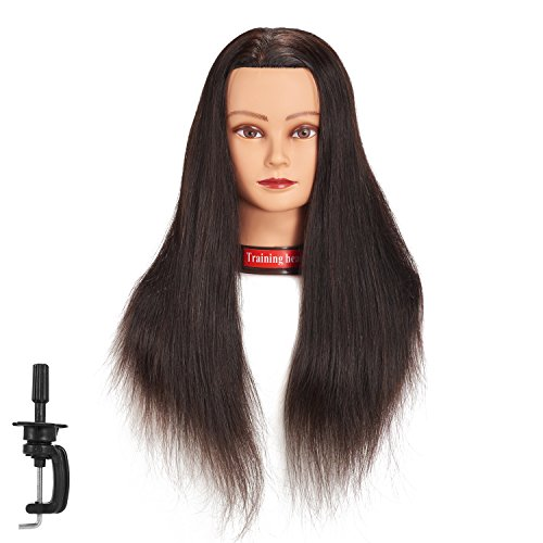 24-26 100% Human hair Mannequin head Training Head Cosmetology Manikin Head Doll Head with free Clamp (black)