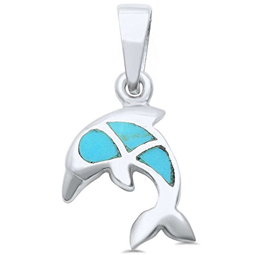 Sterling Silver Turquoise Dolphin Pendant (Turquoise Sterling Silver Charm)