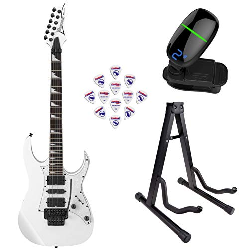 Ibanez RG450DXB RG Series Electric Guitar (White) with Front Row Guitar Stand, tuner and pick sampler (Rg Series Ibanez White)